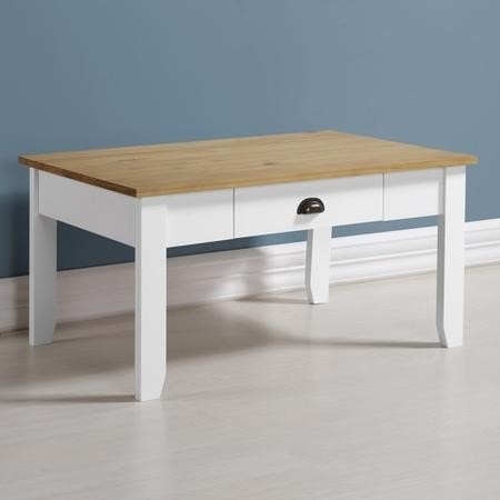 White Coffee Table with Oak Effect Top - Ludlow