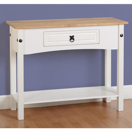 Console Table in White with Pine Top - Corona