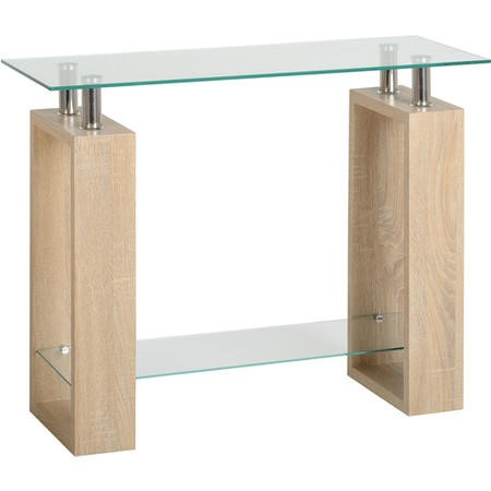 Seconique Milan Console Table in Sonoma Oak Effect and Glass
