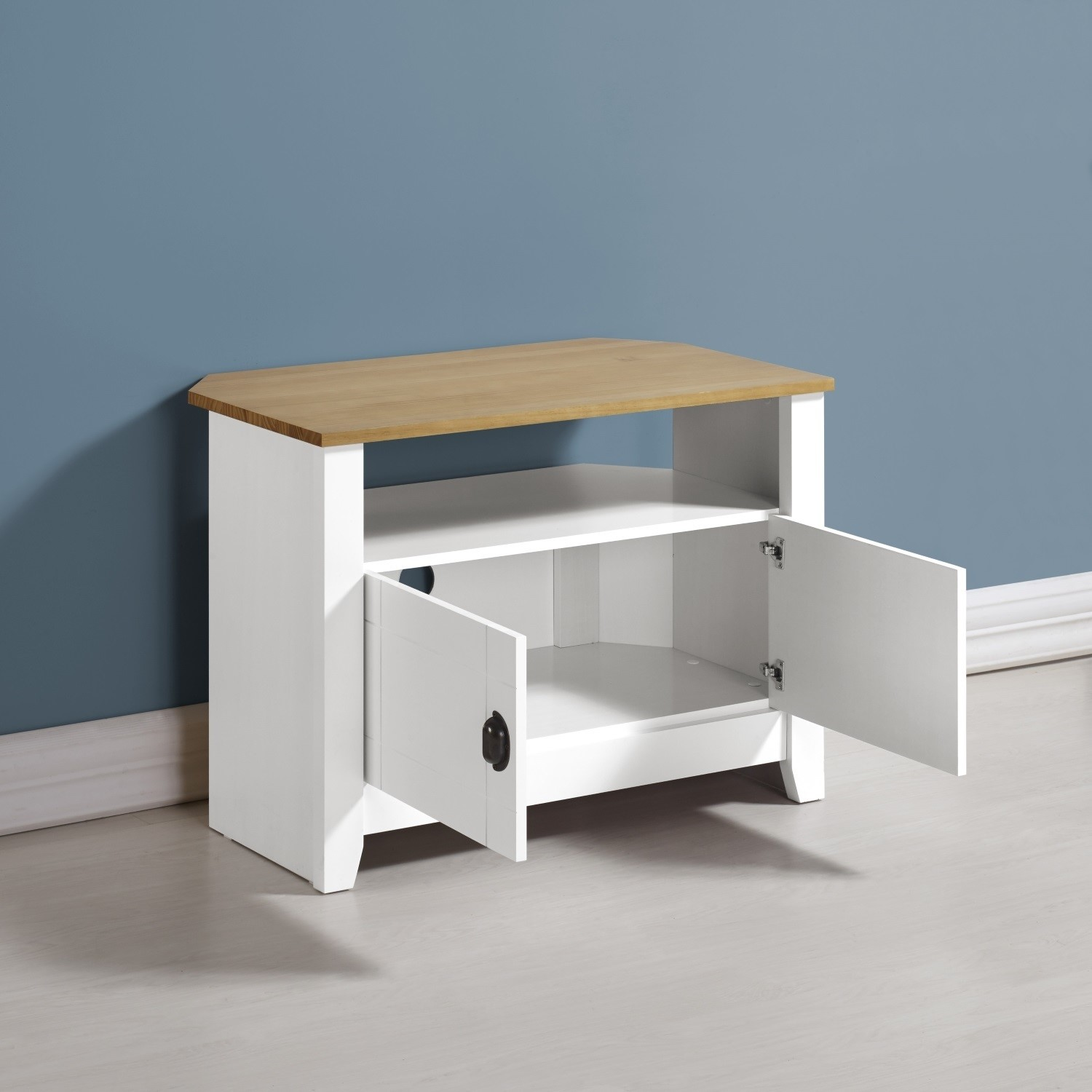 Ludlow Small White Tv Stand With Oak Effect Top Storage Tv S Up To 30 Furniture123