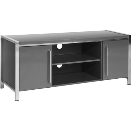 Charisma 2 Door TV Unit in Grey Gloss/Chrome - TV's up to 55""