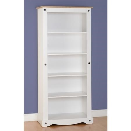 Bookcase in White & Pine Top - Corona