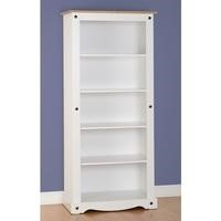 Seconique Corona Tall Bookcase in White/Distressed Waxed Pine
