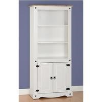 Seconique Corona 2 Door Display Unit/Bookcase in White/Distressed Waxed Pine
