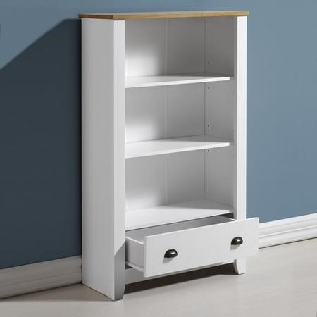 Ludlow White & Wood Bookcase with 3 Shelves & 2 Drawers