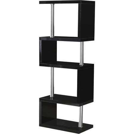 Black Gloss Bookcase with 5 Shelves - Seconique Charisma