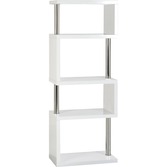 Seconique Charisma 5 Shelf Bookcase Unit In White Gloss