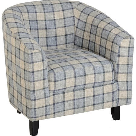 Seconique Hammond Tub Chair in Grey Check Fabric
