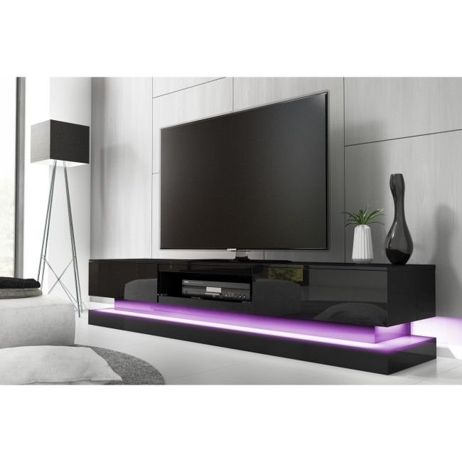 Evoque Large Black High Gloss TV Unit with LED Lighting