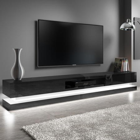 "Extra Large Black Gloss TV Stand with LEDs- TV's up to 80"" - Evoque"