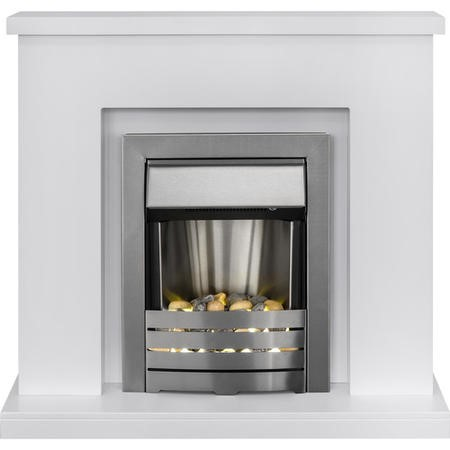 GRADE A2 - Adam Lomond Pure White Surround with Helios Electric Fire in Brushed Steel