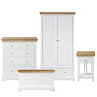 Charleston 4 Piece Room Set in Stone White and Oak