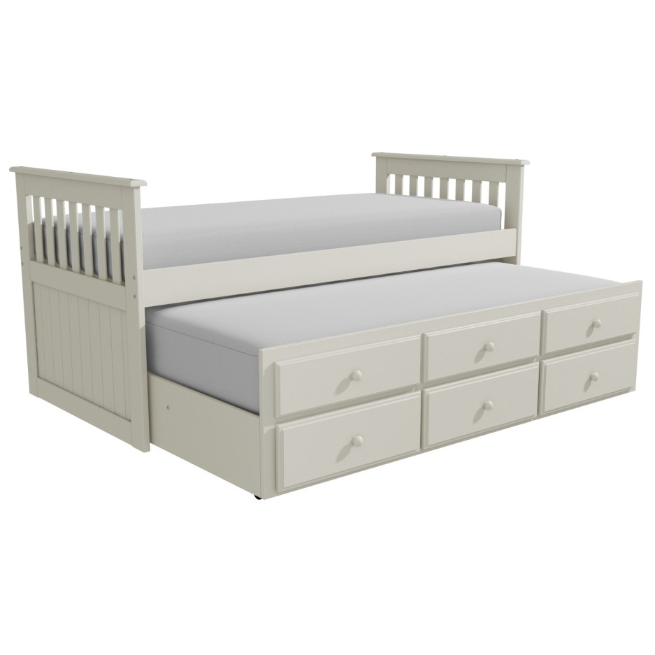 Oxford Captains Guest Bed With Storage In Cream Trundle