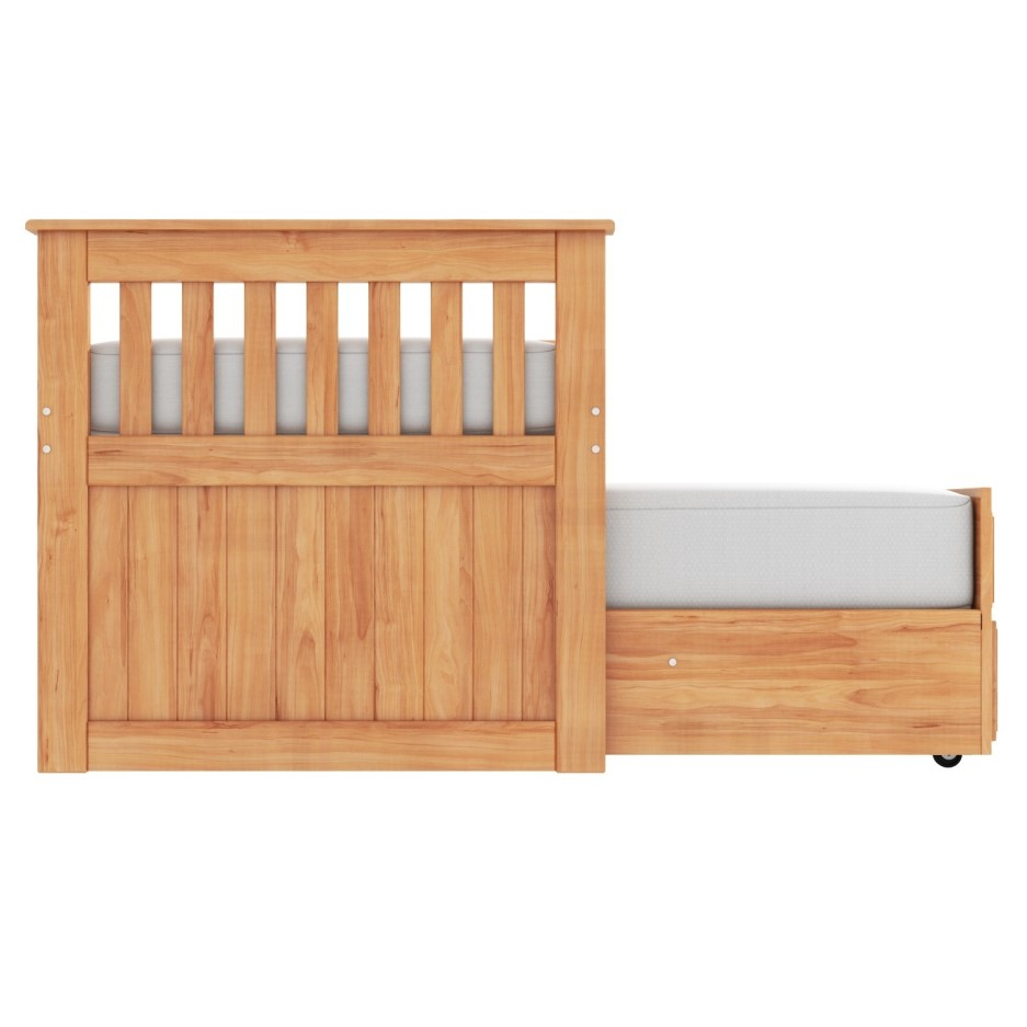 Oxford Captains Guest Bed With Storage In Pine Trundle