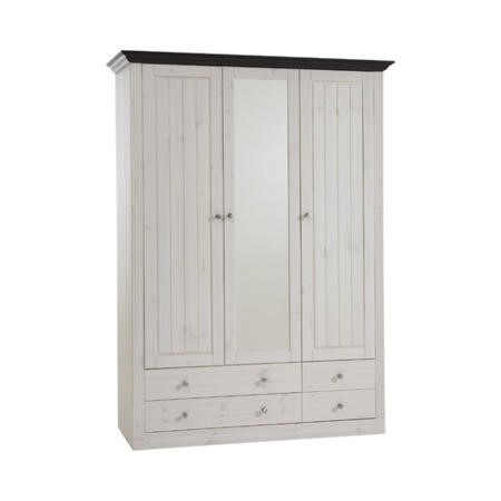 Steens Monaco 2  1 Glazed Door Wardrobe In Whitewash