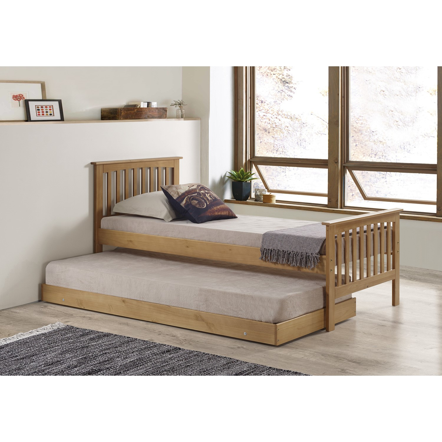 Oxford Single Guest Bed in Pine   Trundle Bed Included | Furniture123