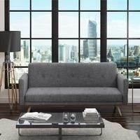 Milu 3 Seater Upholstered Fabric Sofa Bed in Dark Grey