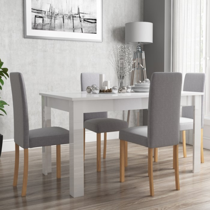 High Dining Room Table And Chairs: Vivienne Extendable White High Gloss Dining Table + 4 Grey