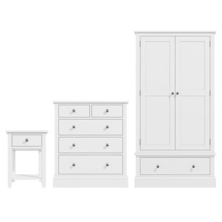 Ordinaire Harper White Soild Wood 3 Piece Bedroom Set