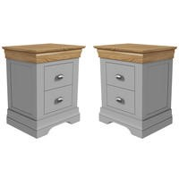 Loire Grey and Oak Pair of Bedside Tables