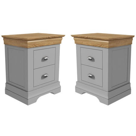 Loire Two Tone Pair Of Bedside Tables In Grey And Oak