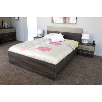 Parisot Alix Double Bed and 2 Night Tables in Liquorice and Mastic Effect