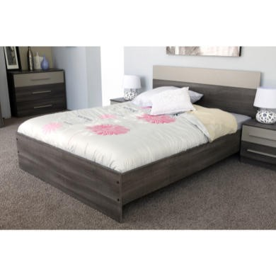 Parisot Alix Continental Kingsize Bed and 2 Night Tables in Liquorice and Mastic Effect