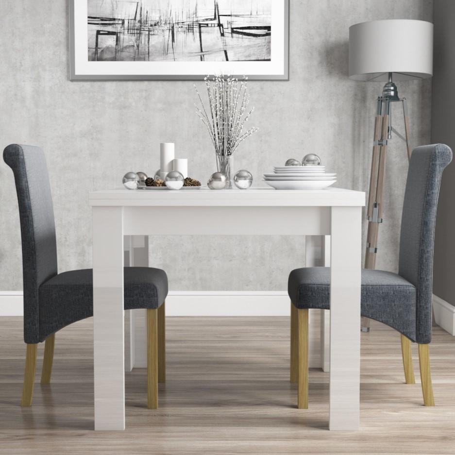 Vivienne Flip Top White High Gloss Dining Table 2 Slate