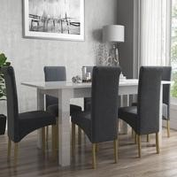 Vivienne White High Gloss Flip Top Dining Table and 6 Slate Roll Back Chairs
