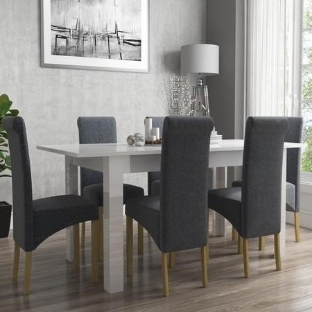 Vivienne white high gloss flip top dining table and 6 for Furniture 123 code
