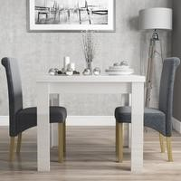 Vivienne White High Gloss Dining Table + 2 Slate Fabric Roll Back Chairs