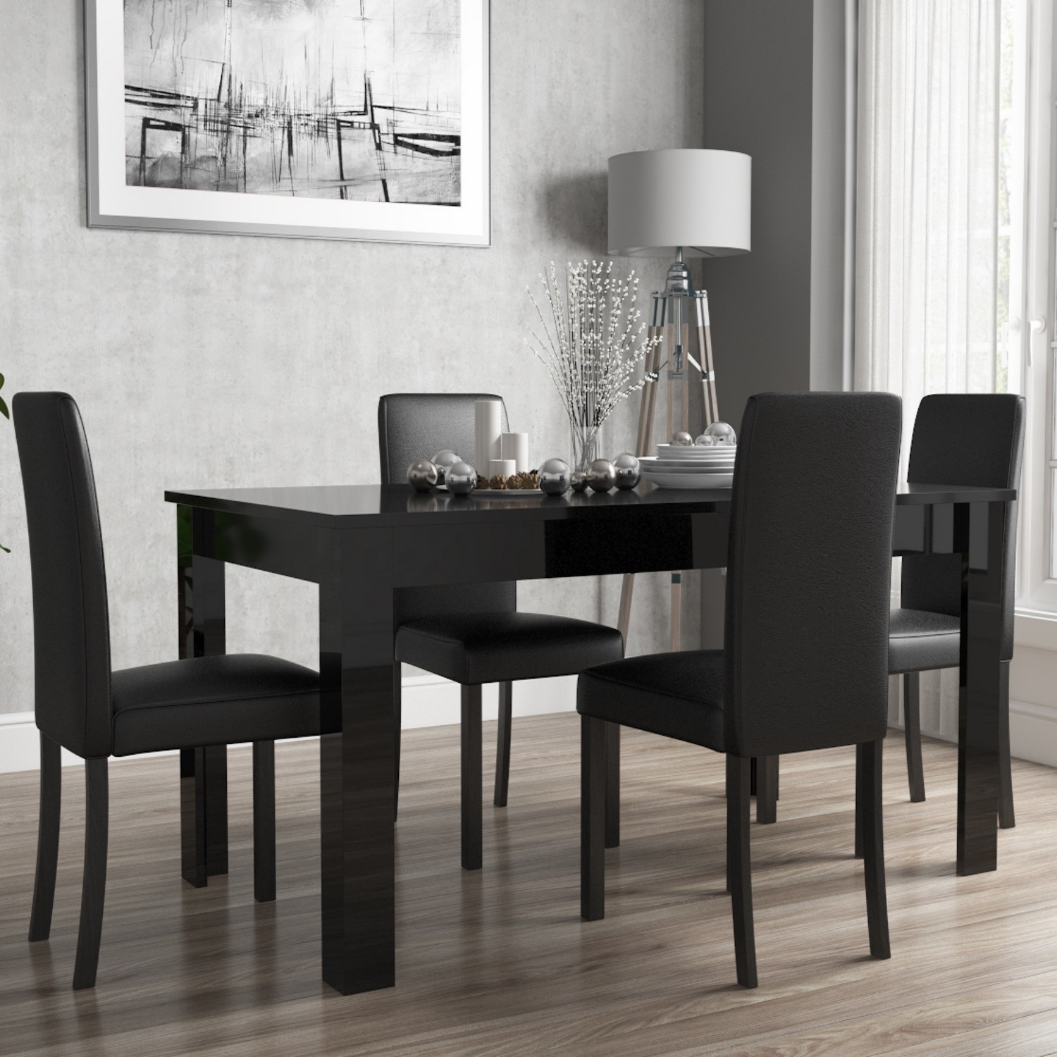 Black Gloss Extending Dining Table And 4 Black Faux Leather Chairs