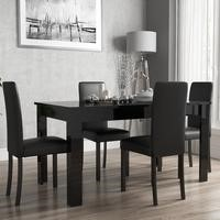 Black High Gloss Extending Dining Table and 4 Black Faux Leather Chairs
