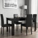 BUN/VIV003/69719 Black High Gloss Extending Dining Table and 4 Black Faux Leather Chairs