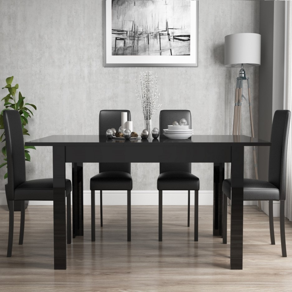 Black Gloss Extending Dining Table and 6 Black Faux ...