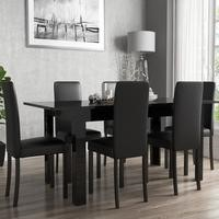 Black High Gloss Extending Dining Table and 6 Black Faux Leather Chairs