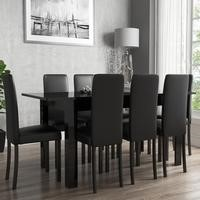 Black High Gloss Extending Dining Table and 8 Black Faux Leather Chairs
