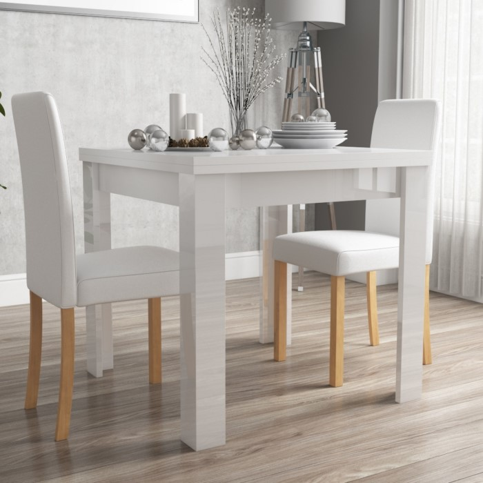 Compact Dining Table And Chairs: Vivienne FlipTop White Gloss Dining Table + 2 PU Leather
