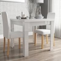 Vivienne White High Gloss Dining Table + 2 Faux Leather Dining Chairs