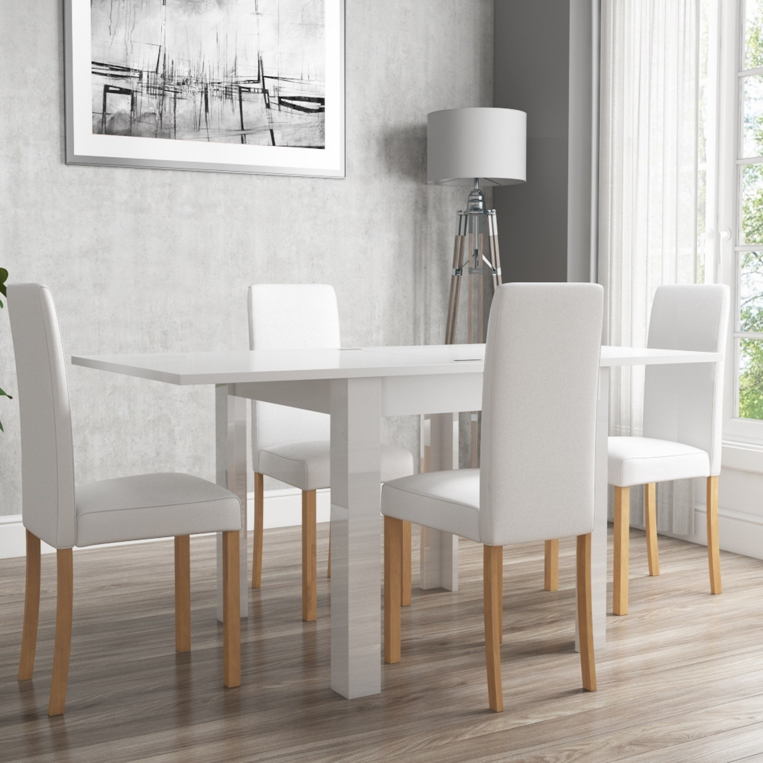 White High Gloss Flip Top Dining Table and 4 White Faux  : 3433359BUNVIV001697051Supersize from furniture123.co.uk size 700 x 700 jpeg 79kB