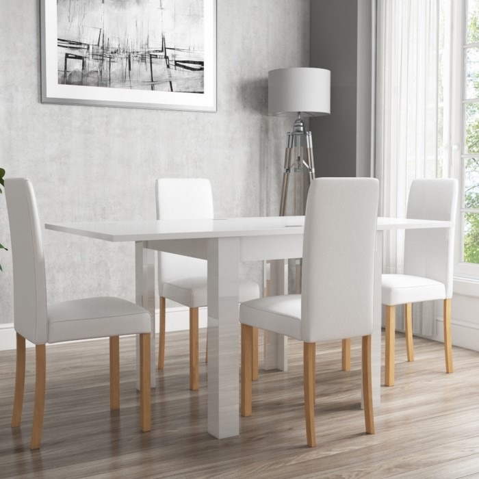 White High Gloss Flip Top Dining Table And 4 White Faux