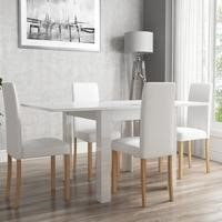 White High Gloss Flip Top Dining Table and 4 White Faux Leather Chairs