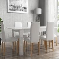 White High Gloss Flip Top Table and 6 White Faux Leather Chairs