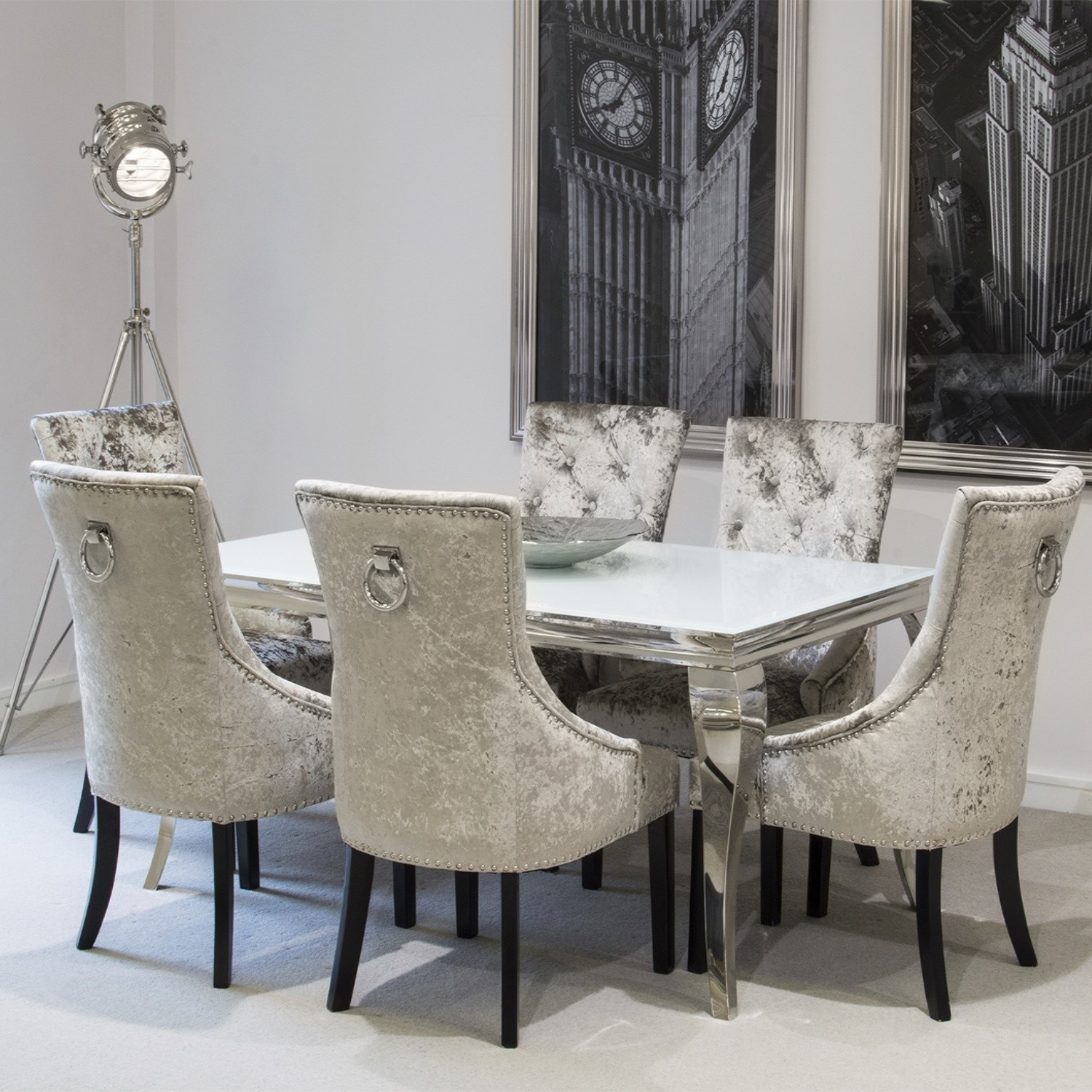 Beautiful Wilkinson Furniture Louis 160cm White Dining Table And 6 Eden Mink  Knockerback Chairs