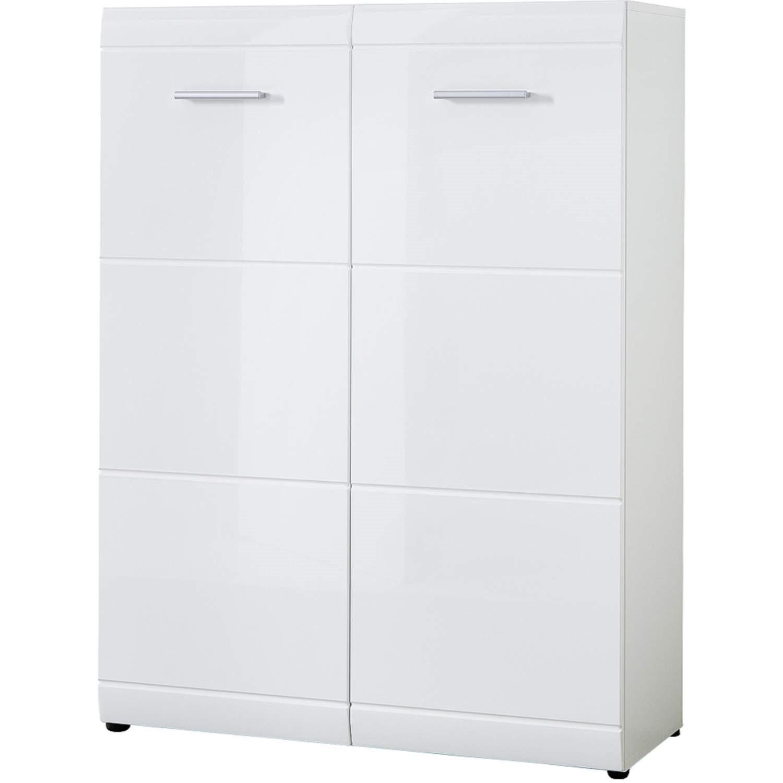 Germania Adana White High Gloss Shoe Storage Cabinet   25 Pairs