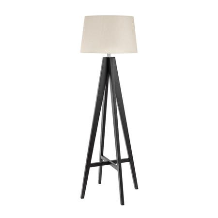 Tripod Floor Lamp with Dark Wood Base & Cream Shade - Searchlight