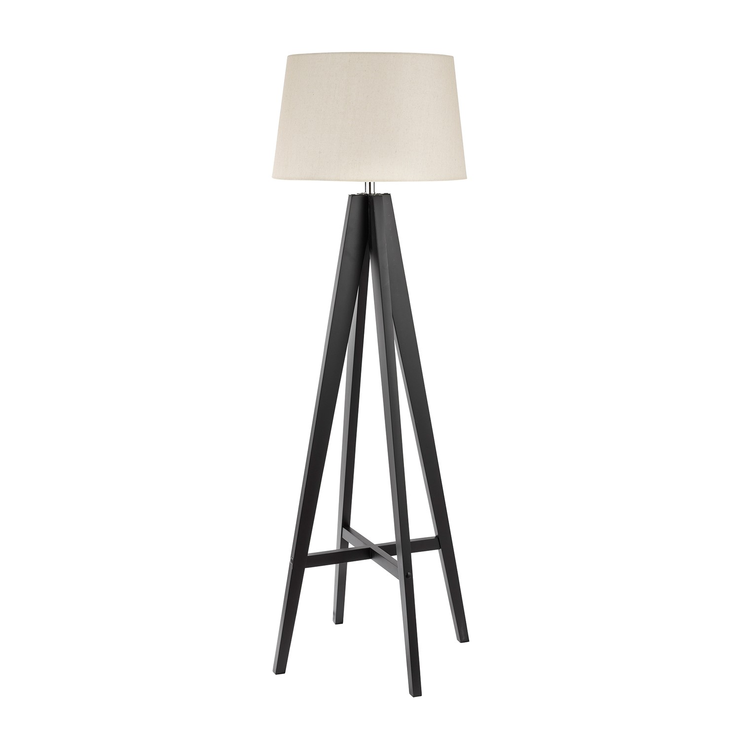 Tripod Floor Lamp With Dark Wood Base Cream Shade Searchlight Furniture123