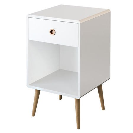 Metro White 1 Drawer Bedside Table