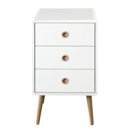 Metro White 3 Drawer Bedside Table