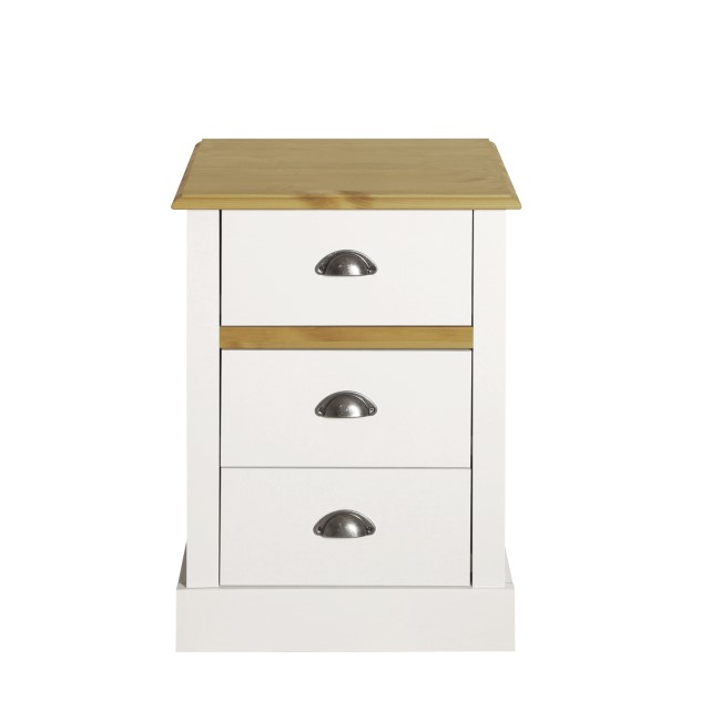 Sandringham 3 Drawer Bedside in White and Pine